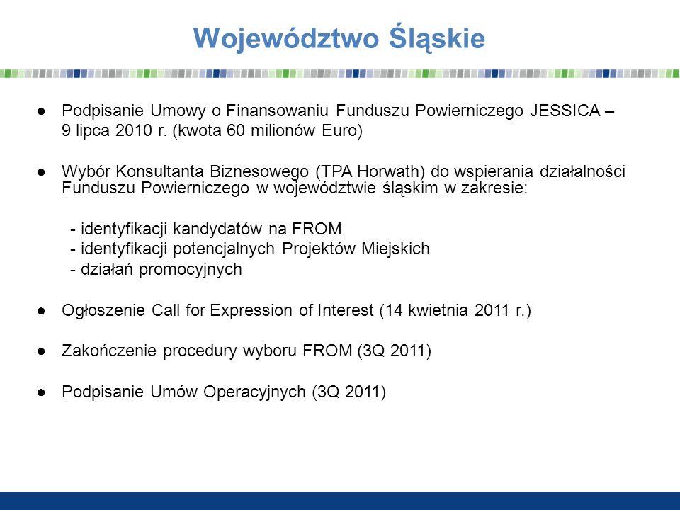Województwo Śląskie Podpisanie Umowy o Finansowaniu Funduszu Powierniczego JESSICA – 9 lipca 2010 r. (kwota 60 milionów Euro) Wybór Konsultanta Biznes