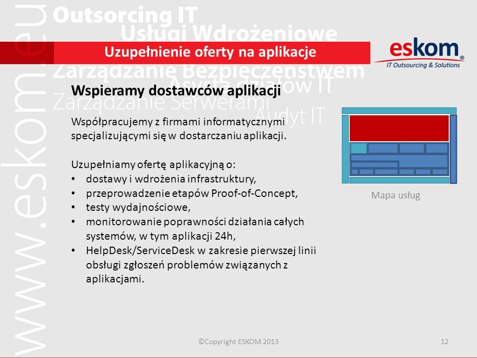 ©Copyright ESKOM 201312 Uzupełnienie oferty na aplikacje Wspieramy dostawców aplikacji Współpracujemy z firmami informatycznymi specjalizującymi się w