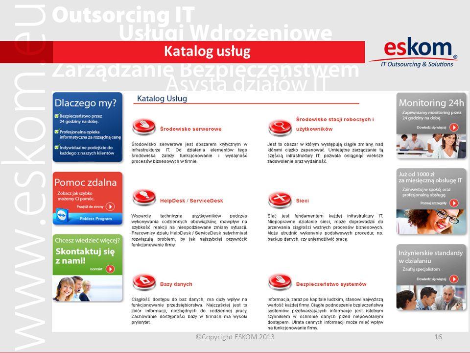 Katalog usług ©Copyright ESKOM 201316 Katalog usług