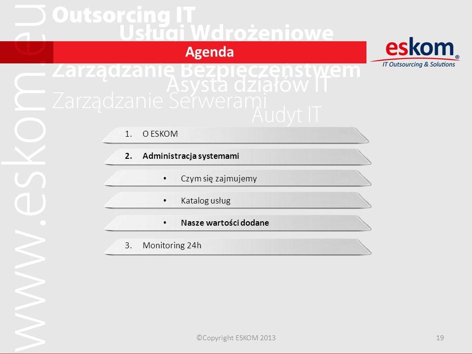 Agenda ©Copyright ESKOM 201319 1.O ESKOM 2.Administracja systemami Czym się zajmujemy Katalog usług Nasze wartości dodane 3.Monitoring 24h