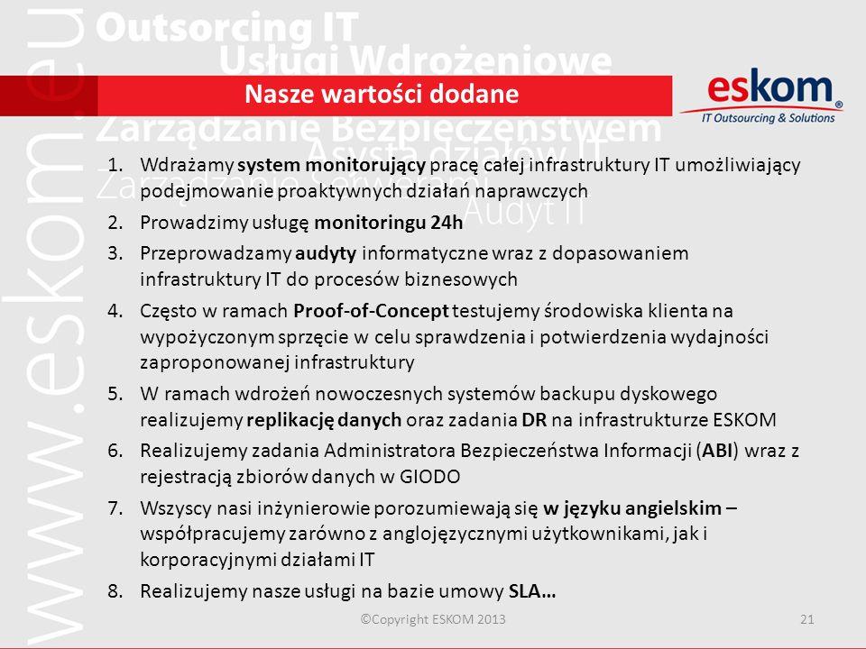 ©Copyright ESKOM 201321 Nasze wartości dodane 1.Wdrażamy system monitorujący pracę całej infrastruktury IT umożliwiający podejmowanie proaktywnych dzi