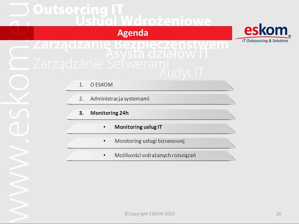Agenda ©Copyright ESKOM 201326 1.O ESKOM 2.Administracja systemami 3.Monitoring 24h Monitoring usług IT Monitoring usługi biznesowej Możliwości wdraża