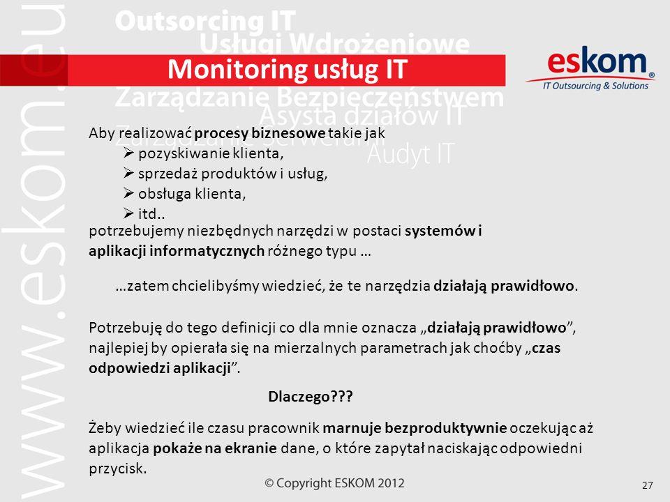 27 Monitoring usług IT Aby realizować procesy biznesowe takie jak pozyskiwanie klienta, sprzedaż produktów i usług, obsługa klienta, itd.. …zatem chci