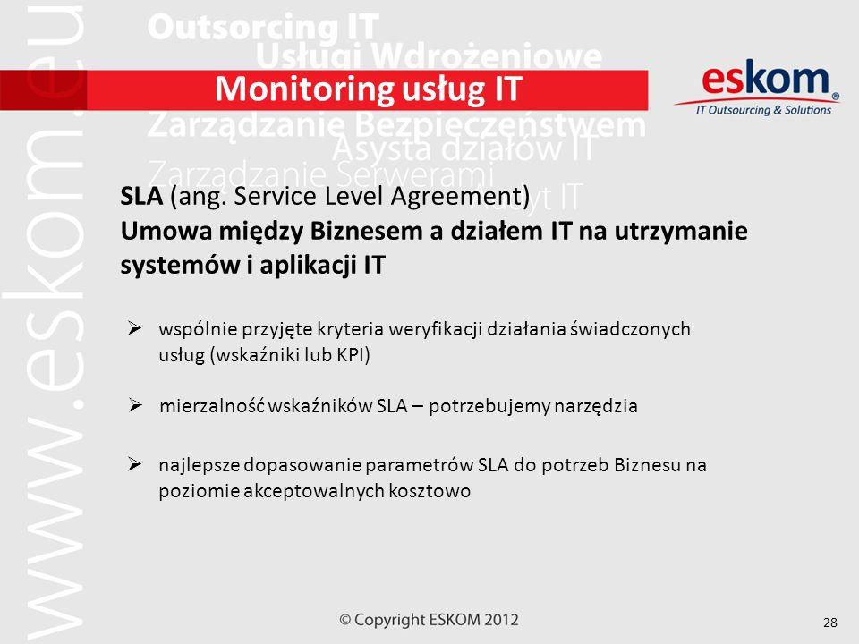 28 Monitoring usług IT SLA (ang. Service Level Agreement) Umowa między Biznesem a działem IT na utrzymanie systemów i aplikacji IT wspólnie przyjęte k