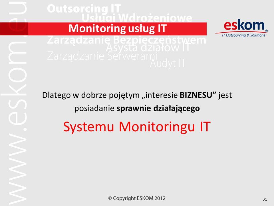 31 Monitoring usług IT Dlatego w dobrze pojętym interesie BIZNESU jest posiadanie sprawnie działającego Systemu Monitoringu IT