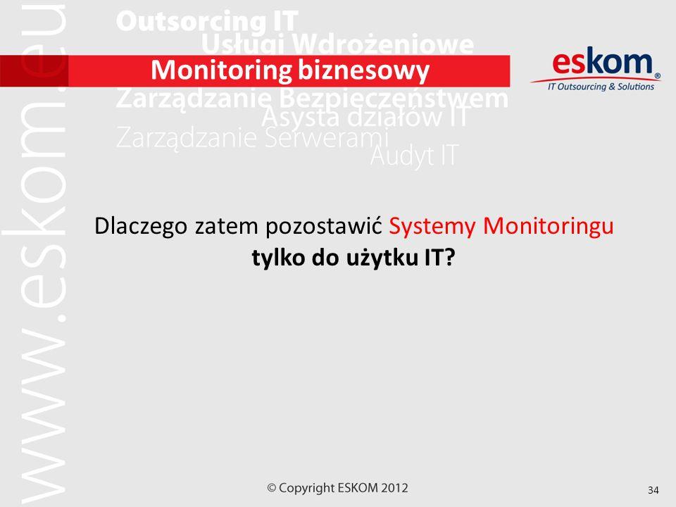 34 Monitoring biznesowy Dlaczego zatem pozostawić Systemy Monitoringu tylko do użytku IT?
