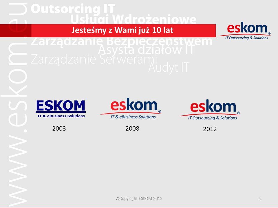 ©Copyright ESKOM 20134 Jesteśmy z Wami już 10 lat ESKOM IT & eBusiness Solutions 20032008 2012