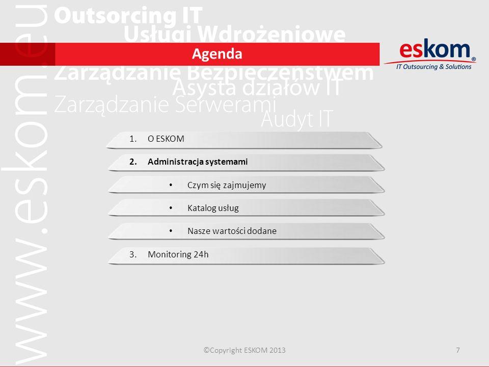 Agenda ©Copyright ESKOM 20137 1.O ESKOM 2.Administracja systemami Czym się zajmujemy Katalog usług Nasze wartości dodane 3.Monitoring 24h