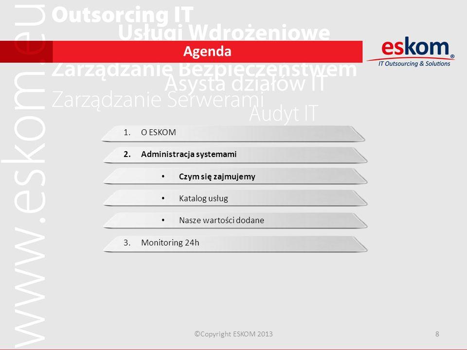Agenda ©Copyright ESKOM 20138 1.O ESKOM 2.Administracja systemami Czym się zajmujemy Katalog usług Nasze wartości dodane 3.Monitoring 24h