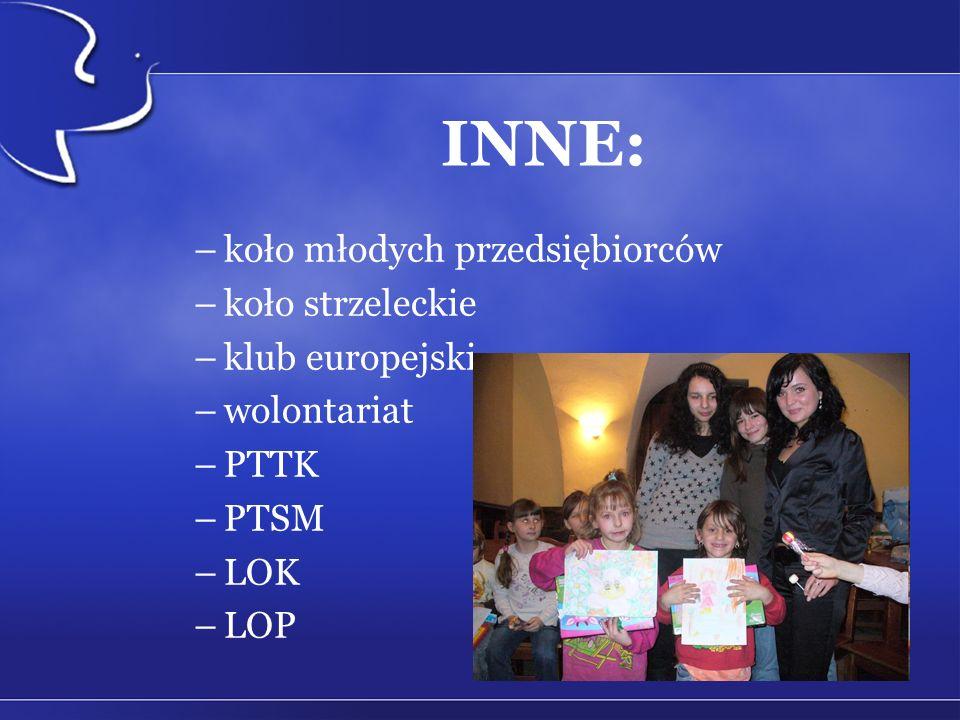 INNE: –koło młodych przedsiębiorców –koło strzeleckie –klub europejski –wolontariat –PTTK –PTSM –LOK –LOP