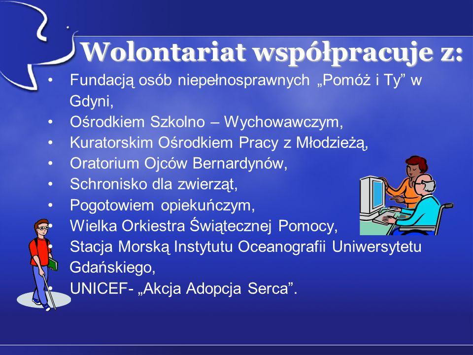 Wolontariat współpracuje z: Fundacją osób niepełnosprawnych Pomóż i Ty w Gdyni, Ośrodkiem Szkolno – Wychowawczym, Kuratorskim Ośrodkiem Pracy z Młodzi