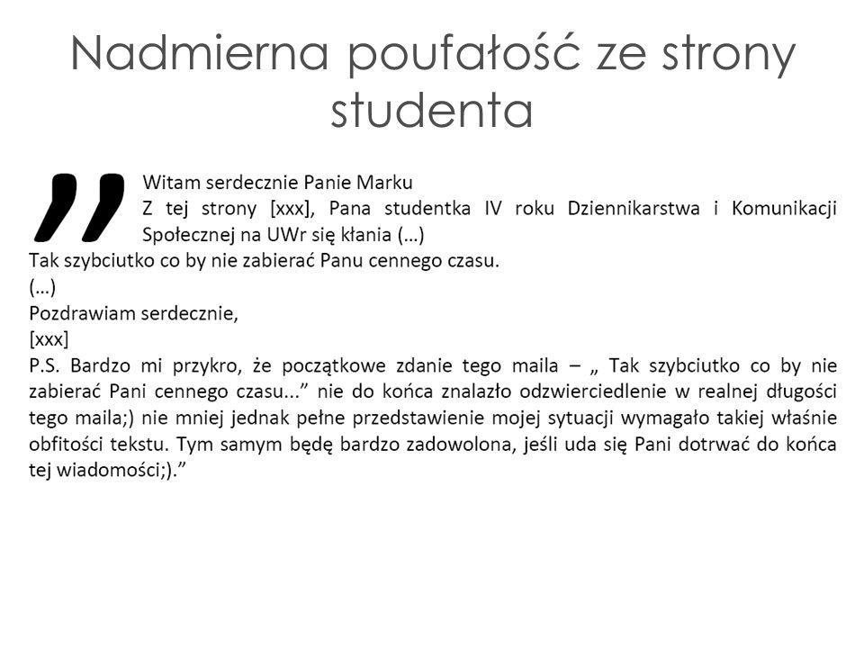 Nadmierna poufałość ze strony studenta