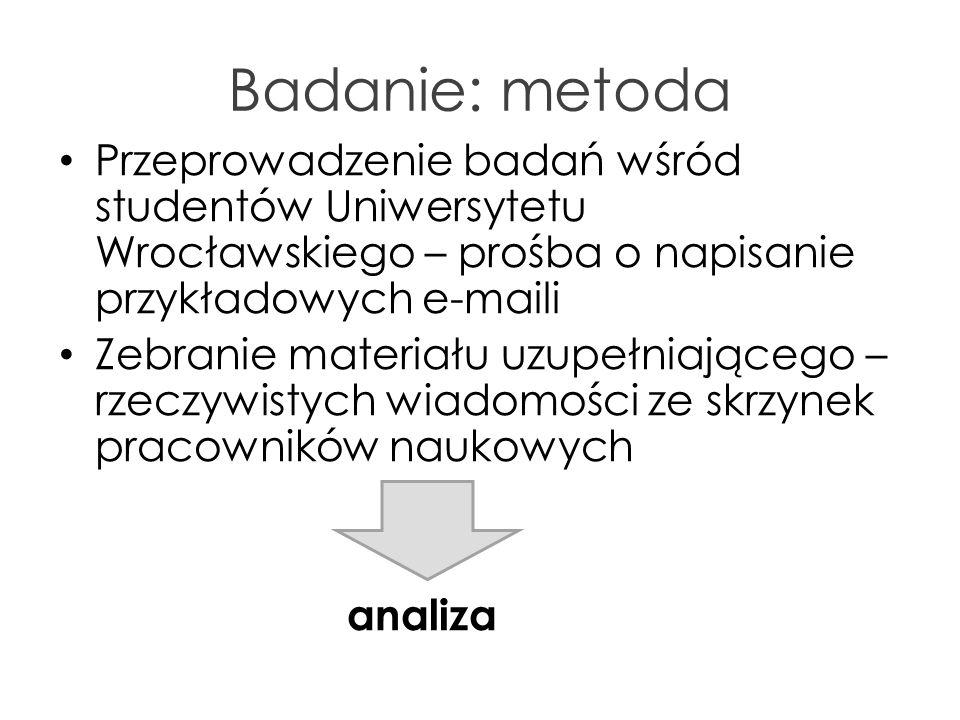 Badanie: metoda Przeprowadzenie badań wśród studentów Uniwersytetu Wrocławskiego – prośba o napisanie przykładowych e-maili Zebranie materiału uzupełn