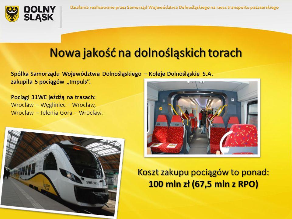 Koszt zakupu pociągów to ponad: 100 mln zł (67,5 mln z RPO) Spółka Samorządu Województwa Dolnośląskiego – Koleje Dolnośląskie S.A. zakupiła 5 pociągów