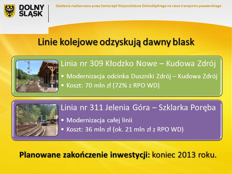 Planowane zakończenie inwestycji: koniec 2013 roku. Linia nr 309 Kłodzko Nowe – Kudowa Zdrój Modernizacja odcinka Duszniki Zdrój – Kudowa Zdrój Koszt:
