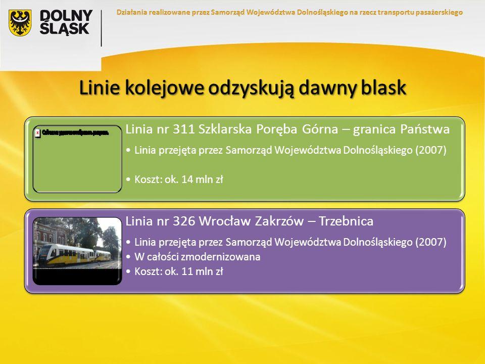 Linia nr 311 Szklarska Poręba Górna – granica Państwa Linia przejęta przez Samorząd Województwa Dolnośląskiego (2007) Koszt: ok. 14 mln zł Linia nr 32