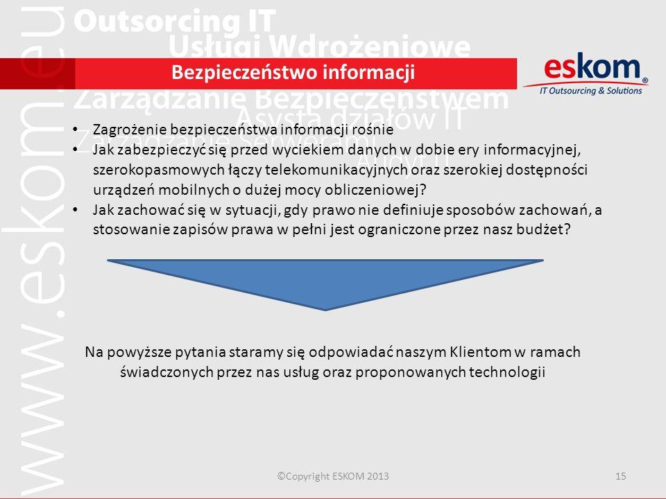 ©Copyright ESKOM 201315 Bezpieczeństwo informacji Zagrożenie bezpieczeństwa informacji rośnie Jak zabezpieczyć się przed wyciekiem danych w dobie ery