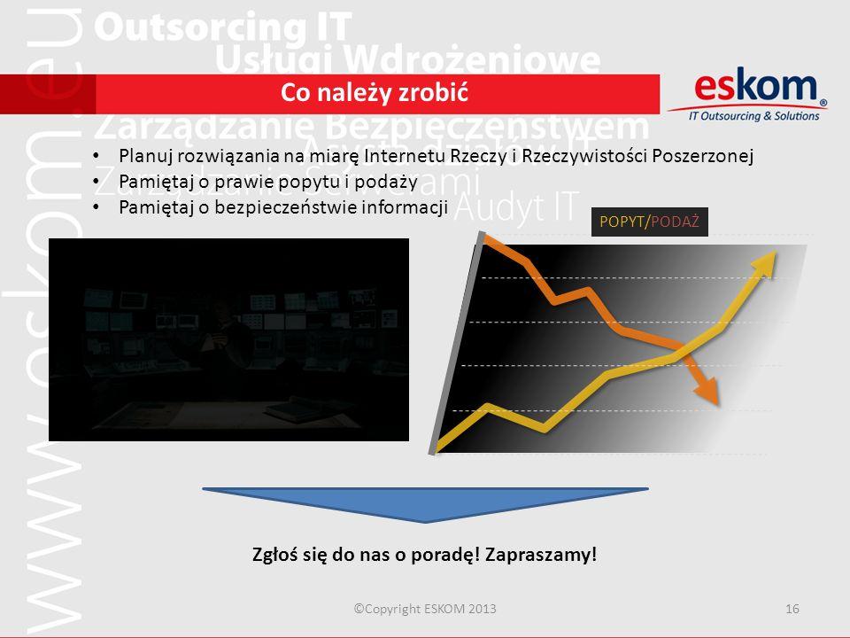 ©Copyright ESKOM 201316 Co należy zrobić Planuj rozwiązania na miarę Internetu Rzeczy i Rzeczywistości Poszerzonej Pamiętaj o prawie popytu i podaży P