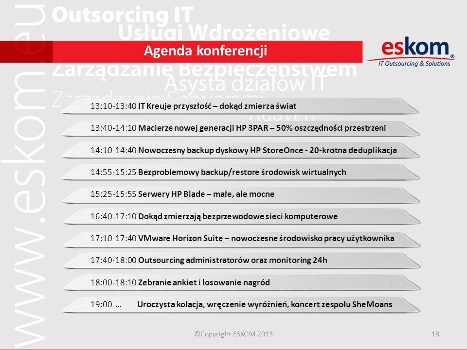 ©Copyright ESKOM 201318 Agenda konferencji 13:10-13:40 IT Kreuje przyszłość – dokąd zmierza świat 13:40-14:10 Macierze nowej generacji HP 3PAR – 50% o