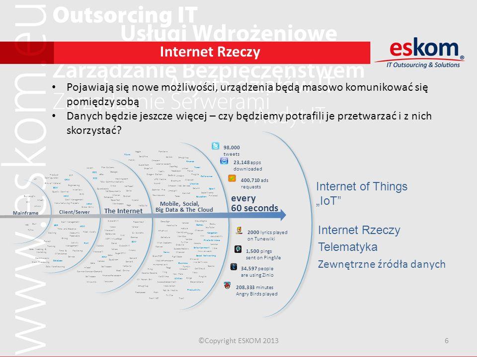 ©Copyright ESKOM 20136 Internet Rzeczy Pojawiają się nowe możliwości, urządzenia będą masowo komunikować się pomiędzy sobą Danych będzie jeszcze więce