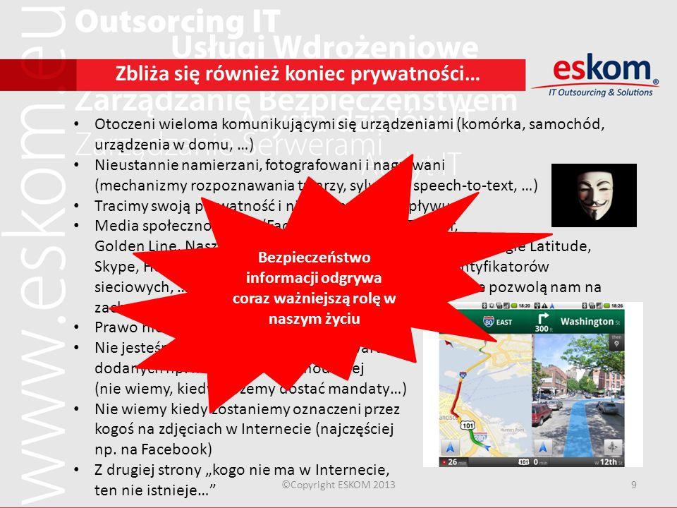 ©Copyright ESKOM 20139 Zbliża się również koniec prywatności… Otoczeni wieloma komunikującymi się urządzeniami (komórka, samochód, urządzenia w domu,