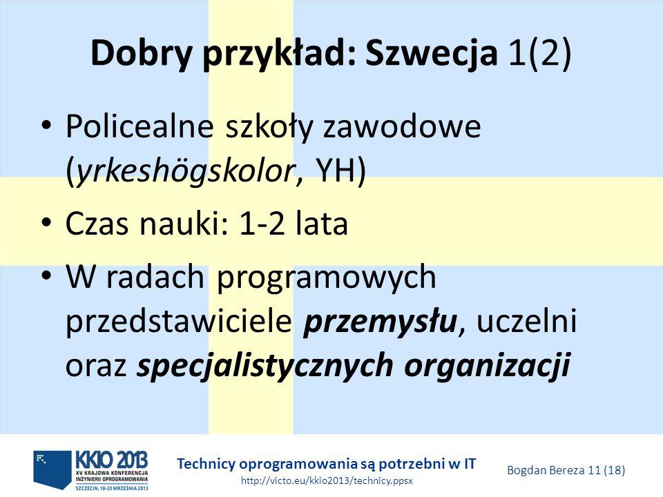 Technicy oprogramowania są potrzebni w IT http://victo.eu/kkio2013/technicy.ppsx Bogdan Bereza 11 (18) Dobry przykład: Szwecja 1(2) Policealne szkoły zawodowe (yrkeshögskolor, YH) Czas nauki: 1-2 lata W radach programowych przedstawiciele przemysłu, uczelni oraz specjalistycznych organizacji