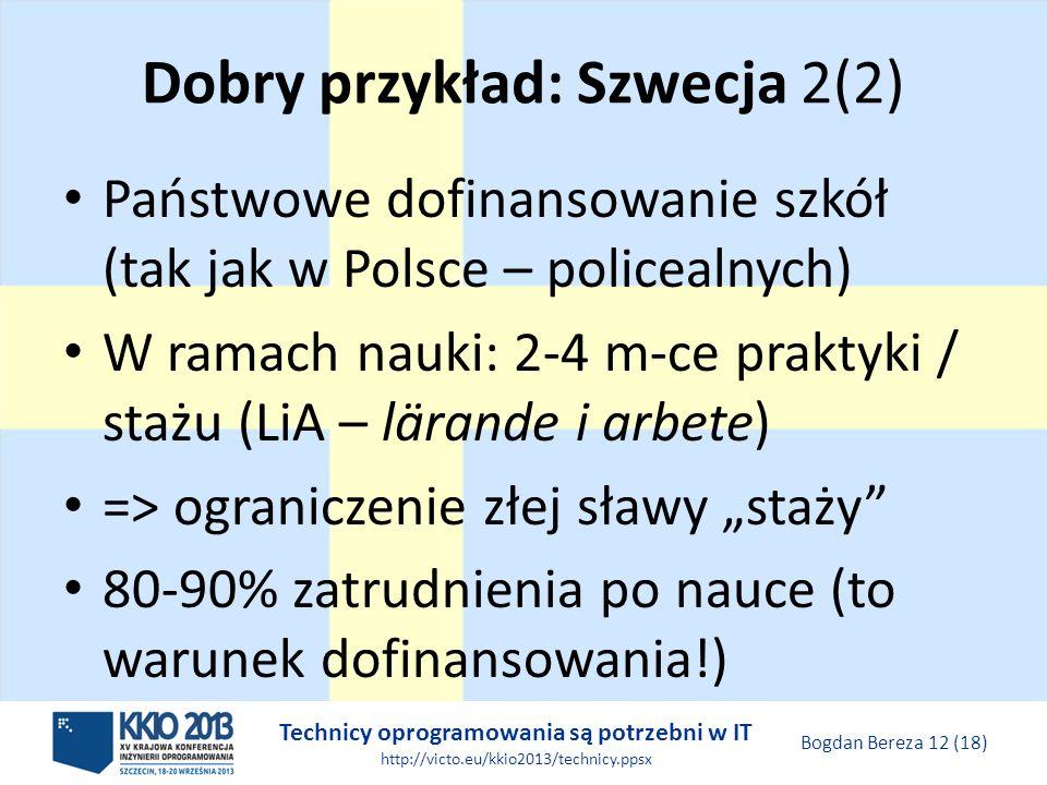 Technicy oprogramowania są potrzebni w IT http://victo.eu/kkio2013/technicy.ppsx Bogdan Bereza 12 (18) Dobry przykład: Szwecja 2(2) Państwowe dofinansowanie szkół (tak jak w Polsce – policealnych) W ramach nauki: 2-4 m-ce praktyki / stażu (LiA – lärande i arbete) => ograniczenie złej sławy staży 80-90% zatrudnienia po nauce (to warunek dofinansowania!)