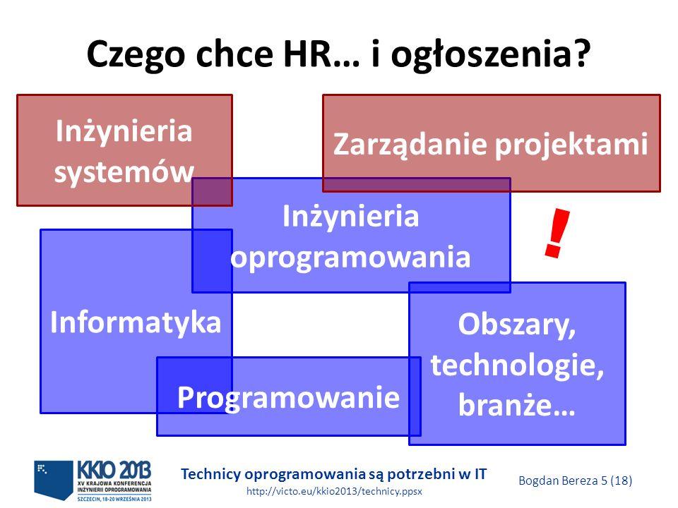 Technicy oprogramowania są potrzebni w IT http://victo.eu/kkio2013/technicy.ppsx Bogdan Bereza 5 (18) Czego chce HR… i ogłoszenia.