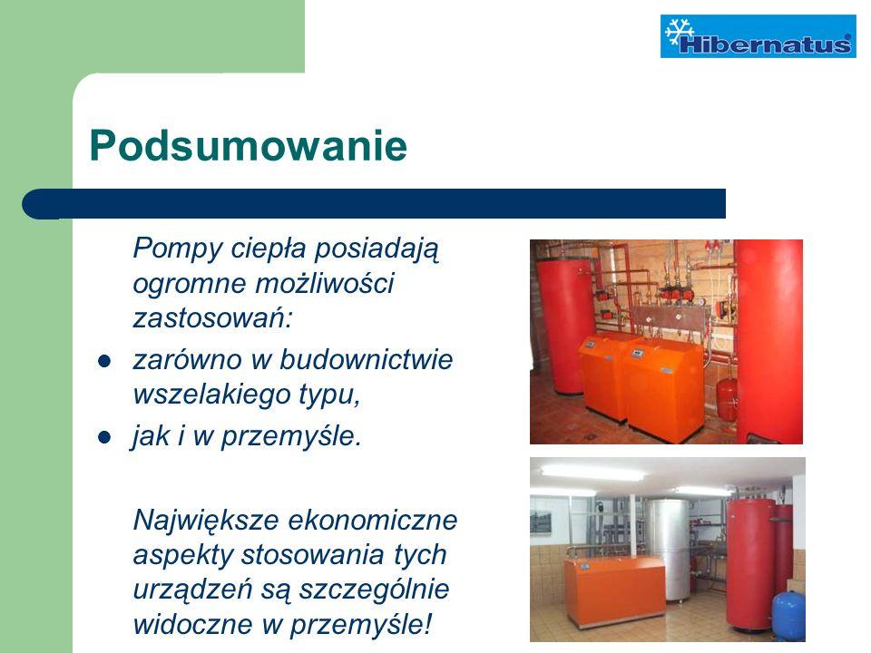 Podsumowanie Pompy ciepła posiadają ogromne możliwości zastosowań: zarówno w budownictwie wszelakiego typu, jak i w przemyśle.