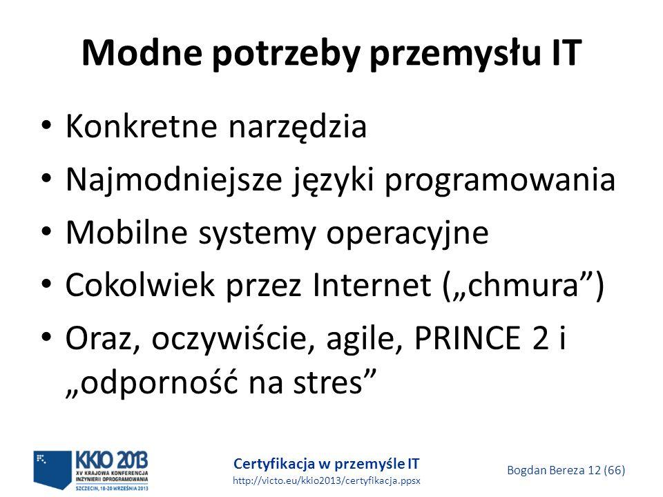 Certyfikacja w przemyśle IT http://victo.eu/kkio2013/certyfikacja.ppsx Bogdan Bereza 12 (66) Modne potrzeby przemysłu IT Konkretne narzędzia Najmodniejsze języki programowania Mobilne systemy operacyjne Cokolwiek przez Internet (chmura) Oraz, oczywiście, agile, PRINCE 2 i odporność na stres