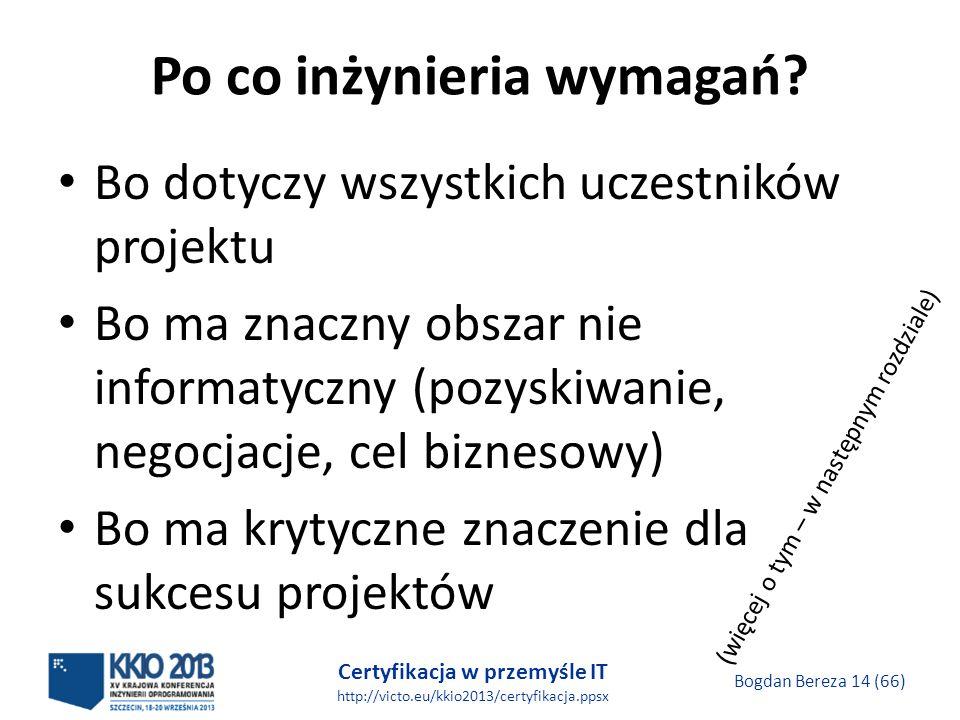 Certyfikacja w przemyśle IT http://victo.eu/kkio2013/certyfikacja.ppsx Bogdan Bereza 14 (66) Po co inżynieria wymagań.
