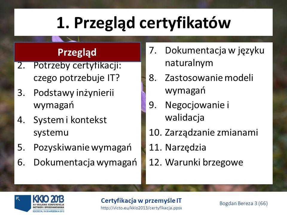 Certyfikacja w przemyśle IT http://victo.eu/kkio2013/certyfikacja.ppsx Bogdan Bereza 3 (66) 1.