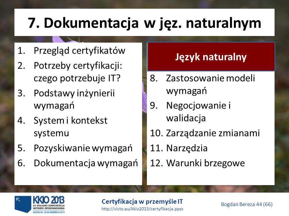 Certyfikacja w przemyśle IT http://victo.eu/kkio2013/certyfikacja.ppsx Bogdan Bereza 44 (66) 7.