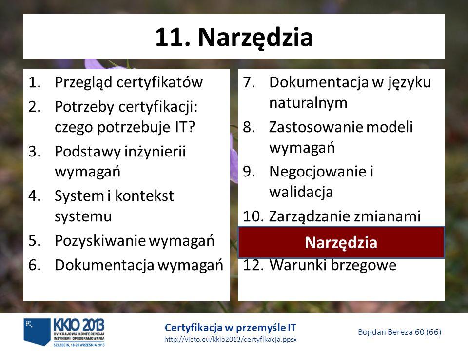 Certyfikacja w przemyśle IT http://victo.eu/kkio2013/certyfikacja.ppsx Bogdan Bereza 60 (66) 11.