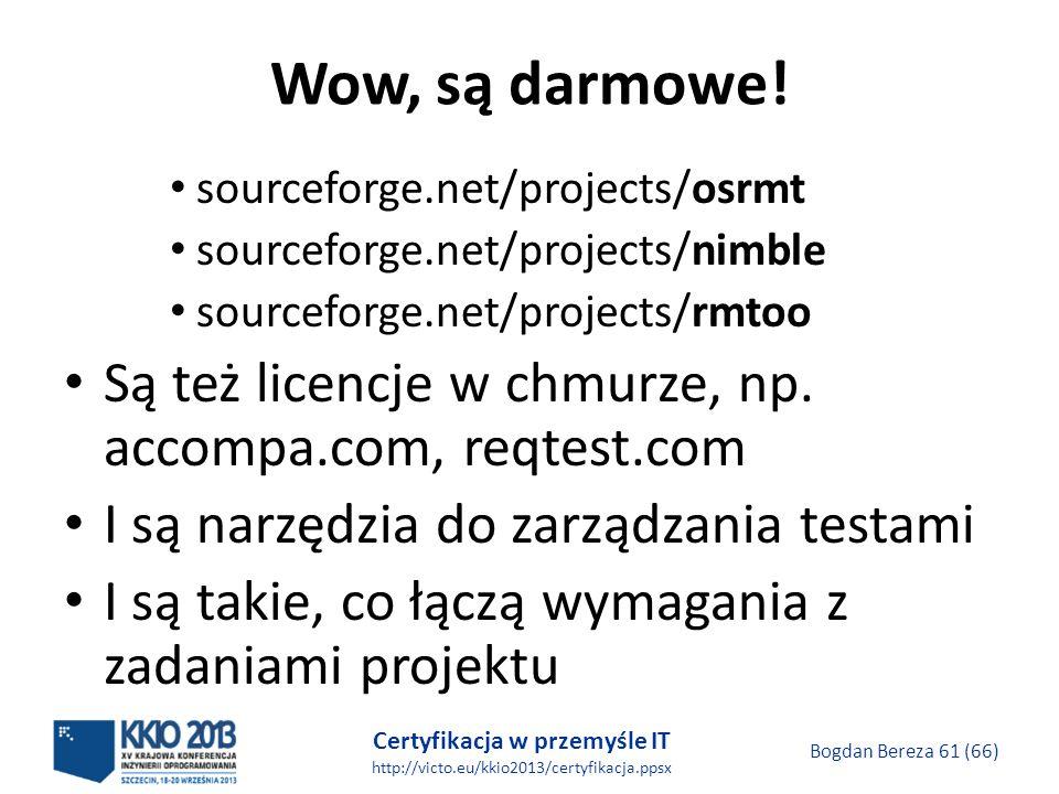 Certyfikacja w przemyśle IT http://victo.eu/kkio2013/certyfikacja.ppsx Bogdan Bereza 61 (66) Wow, są darmowe.