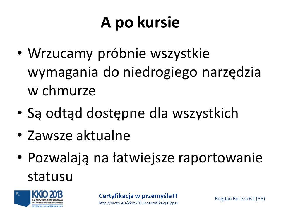 Certyfikacja w przemyśle IT http://victo.eu/kkio2013/certyfikacja.ppsx Bogdan Bereza 62 (66) A po kursie Wrzucamy próbnie wszystkie wymagania do niedrogiego narzędzia w chmurze Są odtąd dostępne dla wszystkich Zawsze aktualne Pozwalają na łatwiejsze raportowanie statusu