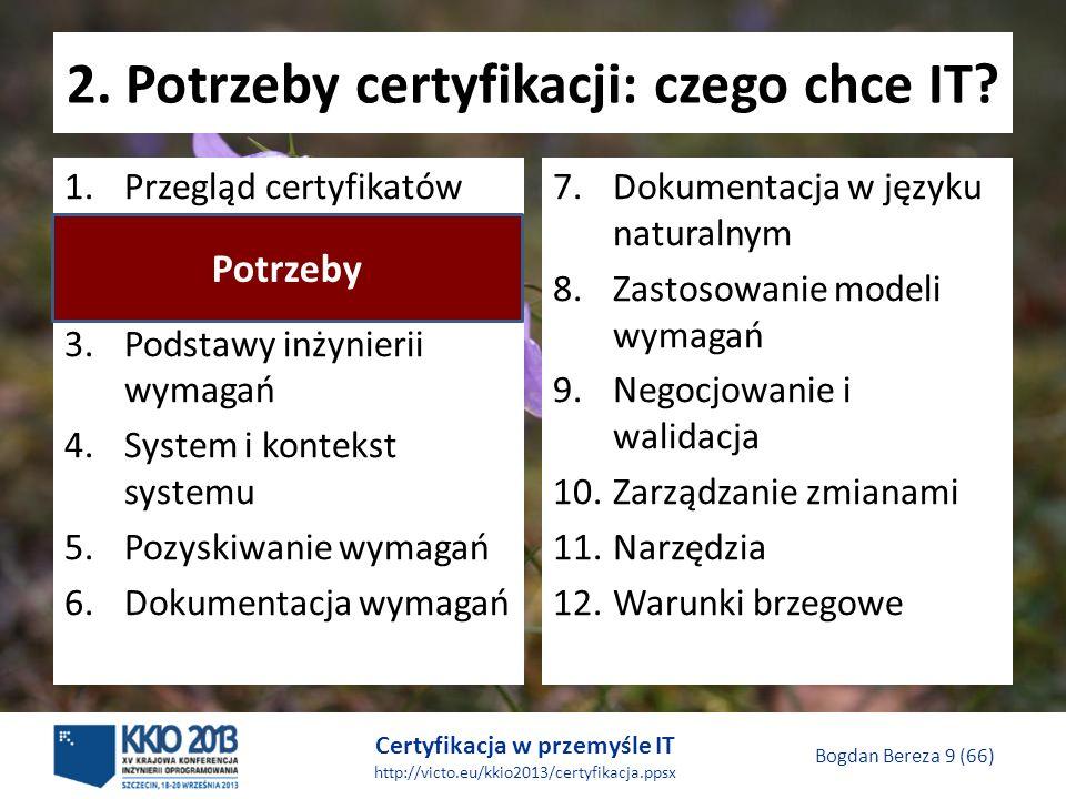 Certyfikacja w przemyśle IT http://victo.eu/kkio2013/certyfikacja.ppsx Bogdan Bereza 9 (66) 2.