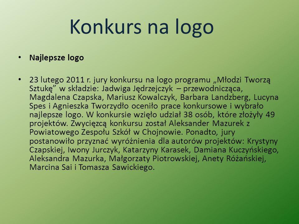 Konkurs na logo Najlepsze logo 23 lutego 2011 r. jury konkursu na logo programu Młodzi Tworzą Sztukę w składzie: Jadwiga Jędrzejczyk – przewodnicząca,
