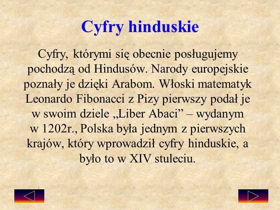 Cyfry hinduskie Cyfry, którymi się obecnie posługujemy pochodzą od Hindusów. Narody europejskie poznały je dzięki Arabom. Włoski matematyk Leonardo Fi