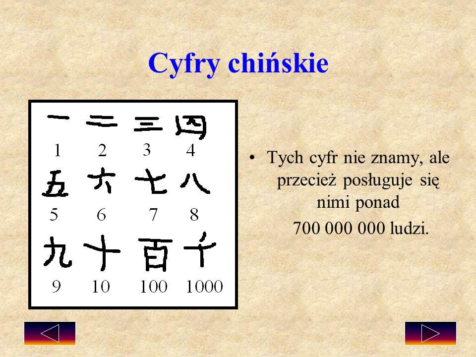 Cyfry chińskie Tych cyfr nie znamy, ale przecież posługuje się nimi ponad 700 000 000 ludzi.