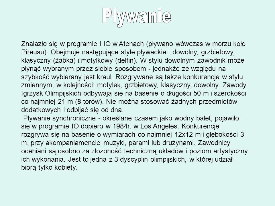 Znalazło się w programie I IO w Atenach (pływano wówczas w morzu koło Pireusu). Obejmuje następujące style pływackie : dowolny, grzbietowy, klasyczny