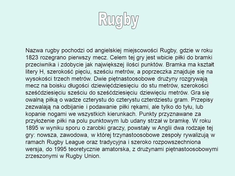 Nazwa rugby pochodzi od angielskiej miejscowości Rugby, gdzie w roku 1823 rozegrano pierwszy mecz. Celem tej gry jest wbicie piłki do bramki przeciwni