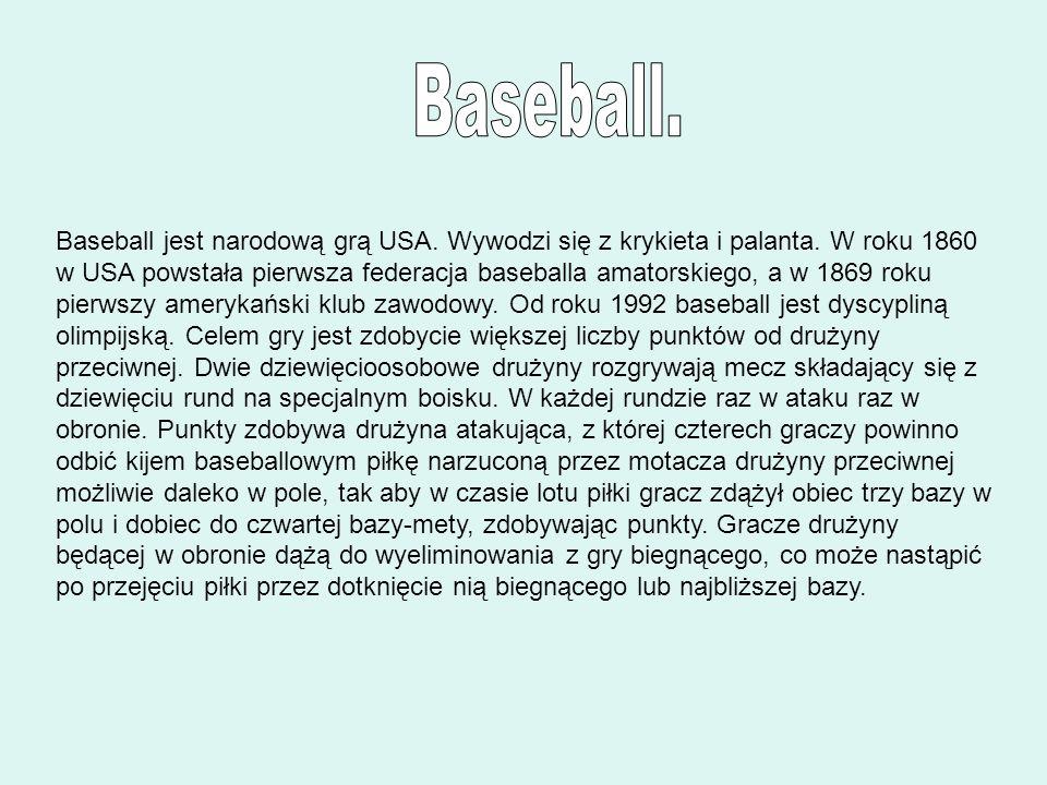 Baseball jest narodową grą USA. Wywodzi się z krykieta i palanta. W roku 1860 w USA powstała pierwsza federacja baseballa amatorskiego, a w 1869 roku