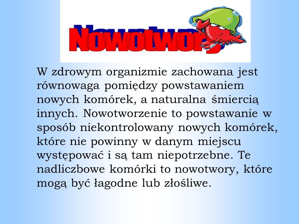 Nowotwory jelita grubego Według najbardziej aktualnych danych z Krajowego Rejestru Nowotworów w 2008 roku w Polsce u obu płci odnotowano łącznie ponad 14 600 zachorowań na nowotwory złośliwe jelita grubego i ponad 10 400 spowodowanych przez nie zgonów.