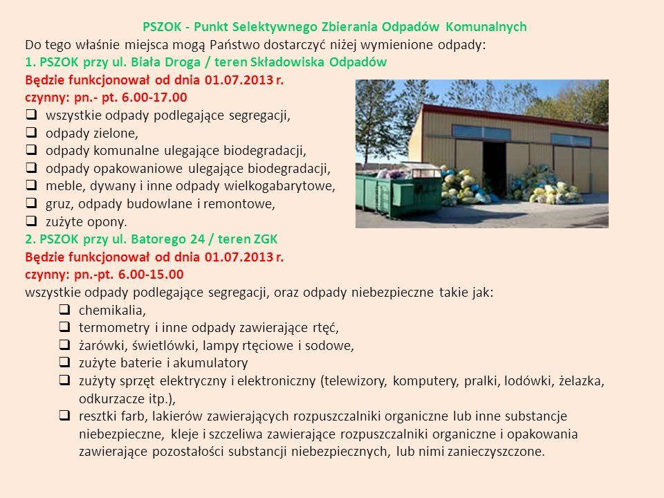PSZOK - Punkt Selektywnego Zbierania Odpadów Komunalnych Do tego właśnie miejsca mogą Państwo dostarczyć niżej wymienione odpady: 1. PSZOK przy ul. Bi