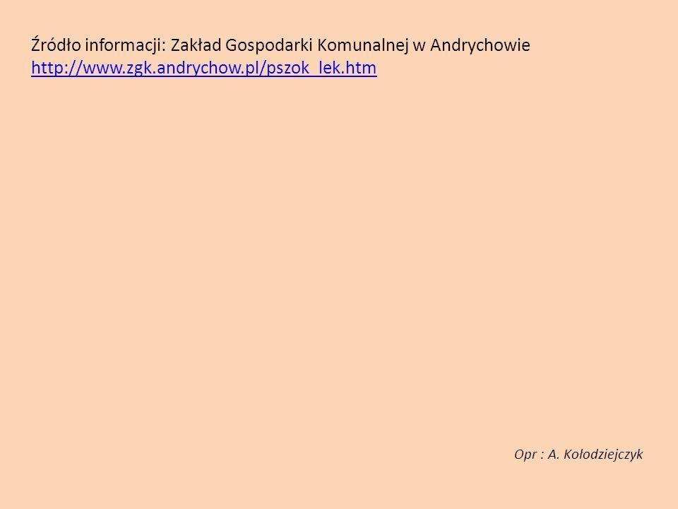 Źródło informacji: Zakład Gospodarki Komunalnej w Andrychowie http://www.zgk.andrychow.pl/pszok_lek.htm http://www.zgk.andrychow.pl/pszok_lek.htm Opr