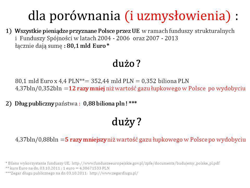 dla porównania (i uzmysłowienia) : 1) Wszystkie pieniądze przyznane Polsce przez UE w ramach funduszy strukturalnych i Funduszy Spójności w latach 2004 - 2006 oraz 2007 - 2013 łącznie dają sumę : 80,1 mld Euro * dużo .