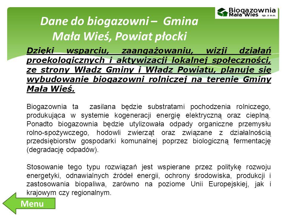 Dane do biogazowni – Gmina Mała Wieś, Powiat płocki Dzięki wsparciu, zaangażowaniu, wizji działań proekologicznych i aktywizacji lokalnej społeczności, ze strony Władz Gminy i Władz Powiatu, planuje się wybudowanie biogazowni rolniczej na terenie Gminy Mała Wieś.