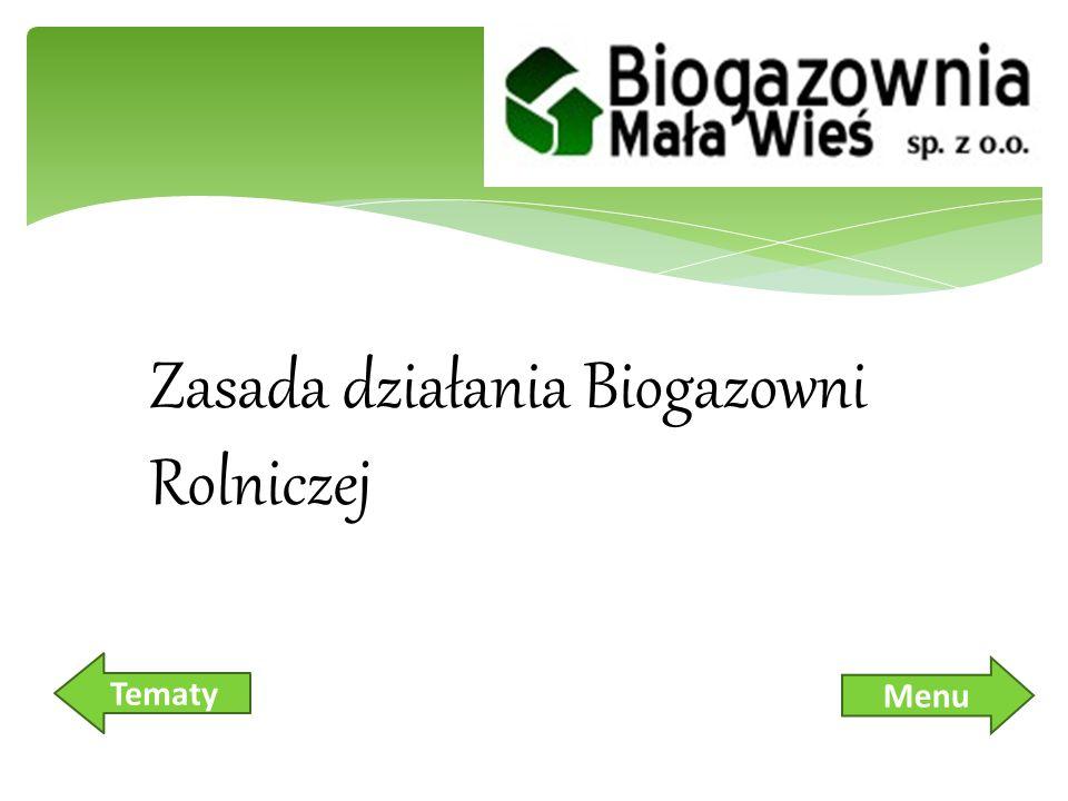 Biogazownia Rolnicza – co to jest i w jaki sposób działa Schemat ideowy funkcjonowania biogazowni rolniczej BIOMASA, czyli SUBSTRAT – jako paliwo w biogazowni rolniczej Biogaz Skład chemiczny biogazu Wykres pokazujący uzysk biogazu, przy zastosowaniu danego substratu Biogazownia Rolnicza Biogazownia utylizacyjna Sedyment pofermentacyjny Sedyment pofermentacyjny Korzyści z uruchomienia biogazowni Korzyści z uruchomienia biogazowni Nowoczesność biogazownii Menu – zasada działania Biogazownii Rolniczej Tematy