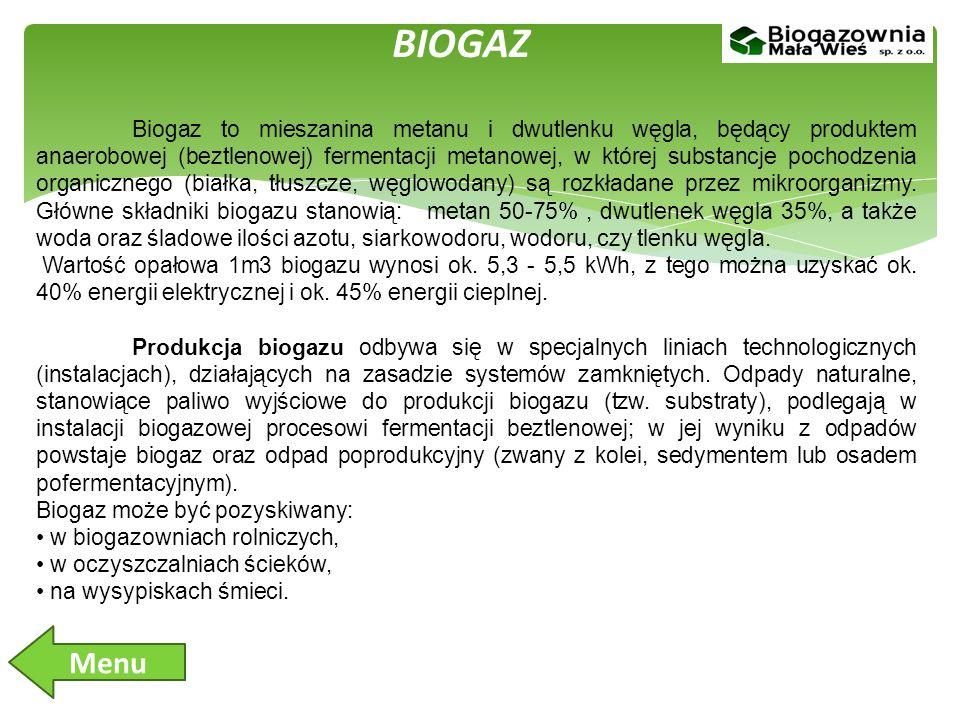 BIOGAZ Biogaz to mieszanina metanu i dwutlenku węgla, będący produktem anaerobowej (beztlenowej) fermentacji metanowej, w której substancje pochodzenia organicznego (białka, tłuszcze, węglowodany) są rozkładane przez mikroorganizmy.